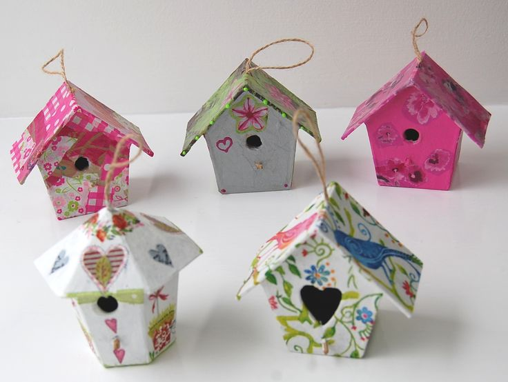 Our new papier mache birdhouses have been painted or covered in Decopatch paper or decoupaged with napkins. Sooooo cute.