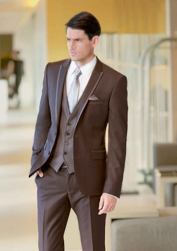 Classic Mens Wedding Tuxedos 2015 Peaked Lapel Brown Wedding Suits For Men Two Button Mens Suits Three Piece Suit Jacket+Pants+Vest+Tie Black Suits For Prom Black Tuxedo Waistcoat From Hanhuasuitsshop, $72.78| Dhgate.Com