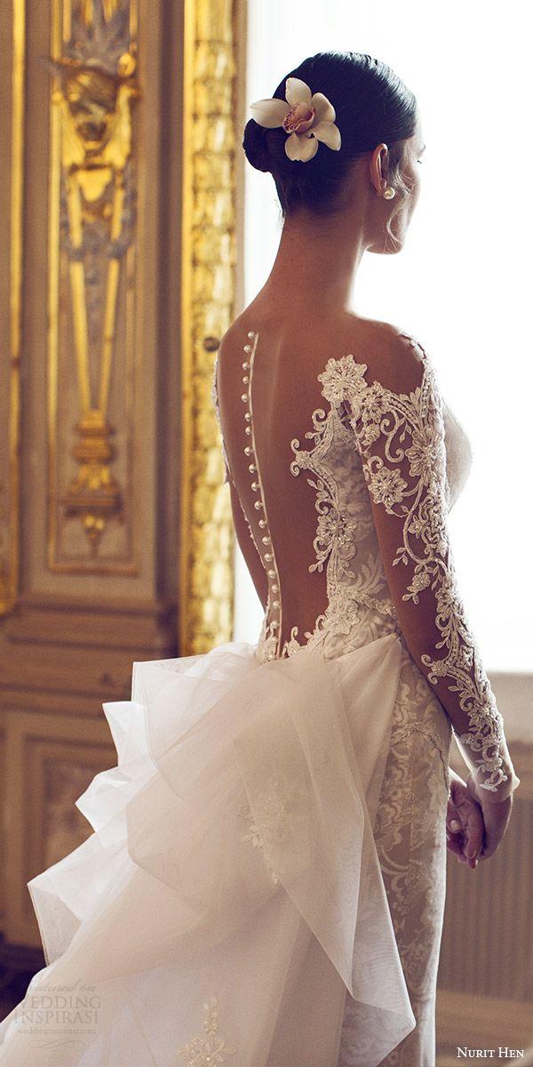 nurit hen 2016 bridal illusion long sleeves off shoulder sweetheart sheath wedding dress (11) elegant bv illusion back