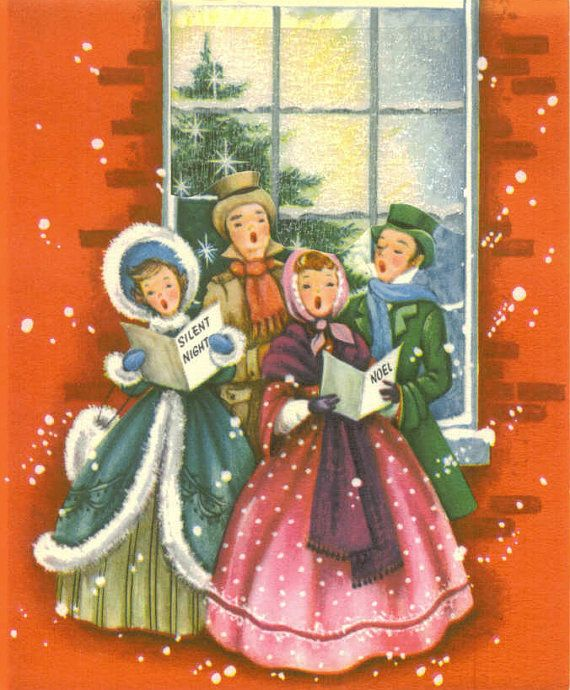 Singing Carolers Candleholders Figurines Vintage By: Vintage Christmas Card, Carolers, Frosted Window, Unused