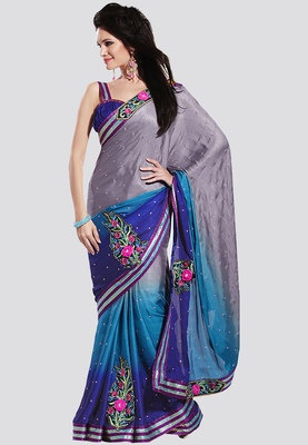 Blue coloured, embellished saree for women from Bahubali. Made of satin, this saree measures 6.3m, including a blouse piece. A perfect blend of style and sophistication, this saree from the world of Bahubali is a graceful creation. Made of satin, this saree with heavy embellishment is ideal to be worn to a wedding.