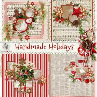 A set of stacked and decorated Christmas themed QP's designed to coordinate with the Handmade Holidays collection.