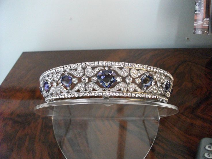 An unknown sapphire and diamond tiara. Approx seven sapphires set in diamond panels.