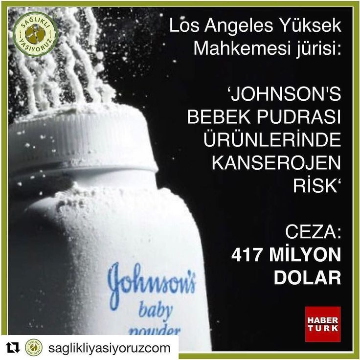 #Repost @saglikliyasiyoruzcom (@get_repost)  Los Angeles Yüksek Mahkemesi jürisi 'JOHNSON'S BEBEK PUDRASI ÜRÜNLERİNDE KANSEROJEN RİSK'  CEZA: 417 MİLYON DOLAR  Biz sağlıklı Yaşıyoruz olarak Johnson & Johnson marka talk pudrasıyla ilgili mahkeme sürecini yakından takip ediyor ve gelişmeleri de sizlerle paylaşıyoruz.  Mahkeme uzadıkça ceza miktarı da artıyor. Bu haberi ilk duyurduğumuz zaman 55 milyon dolar cezadan söz ediliyordu. (1) Ardından ceza miktarının 72 milyon dolara çıktığını okuduk…