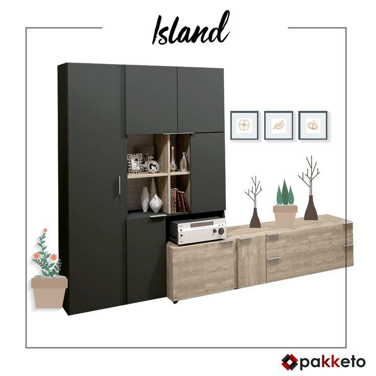 Ένα island στο σαλόνι σας! Το πρωτοποριακό design της σύνθεσης σαλονιού island δίνει χαρακτήρα σε κάθε χώρο που θέλει να ξεχωρίζει! Με ντουλάπα-βιβλιοθήκη σε ανθρακί και συρταριέρα σε φυσικό χρώμα. Απόκτησέ το εδώ https://www.pakketo.com/sunthesi-saloniou-xroma-043-000050 Παράδοση σε όλη την Ελλάδα.