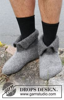 "Hobbit shoes - Felted DROPS slippers in ""Eskimo"". - Free pattern by DROPS Design"