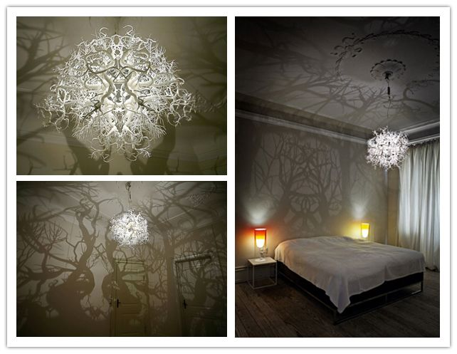 How to make forest inspired DIY tree branch shadow chandelier....toned down would be great on screened porch for ambience