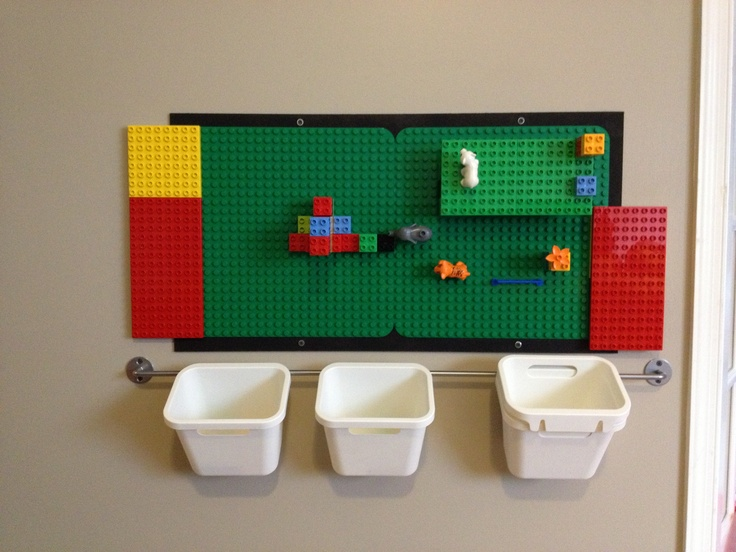 Lego Wall With Ikea Containers And Painted Masonite Board Lego Wall Cool Kids Rooms Lego Room