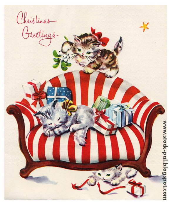 christmas greeting with catsChristmas Cards, Vintage Christmas, Vintage Greeting, Christmas Kitty, Greeting Cards, Christmas Greeting, Christmas Dreams, Christmas Kittens, Vintage Cards