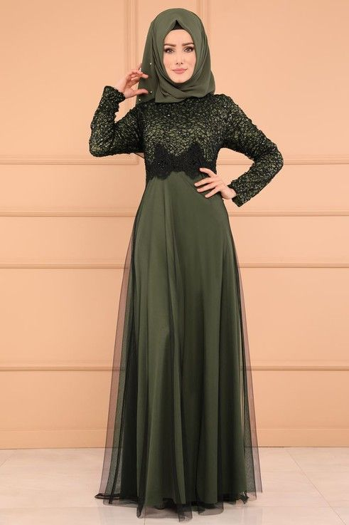 Modaselvim Abiye Gupurlu Tul Etek Abiye Ech7224 S Haki Muslim Outfits Islamic Fashion Dresses