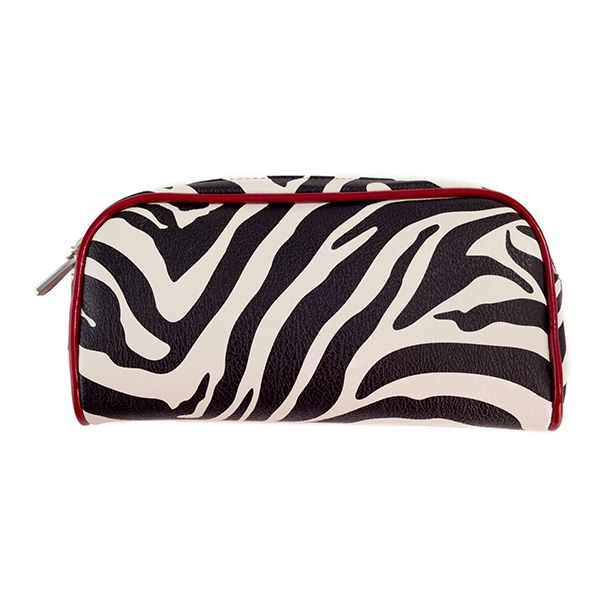"Makeup Bag-Zebra Grace Adele Accessory    Whether subtly elegant or vivaciously untamed, show your style with a perfectly patterned Makeup Bag. Stash it inside your favorite Grace Adele bag and reapply gloss and powder on the go.       • Faux leather  • Zipper enclosure  • 8"" L, 4"" H    https://myfashions.graceadele.us/GraceAdele/Buy/ProductDetails/10448"