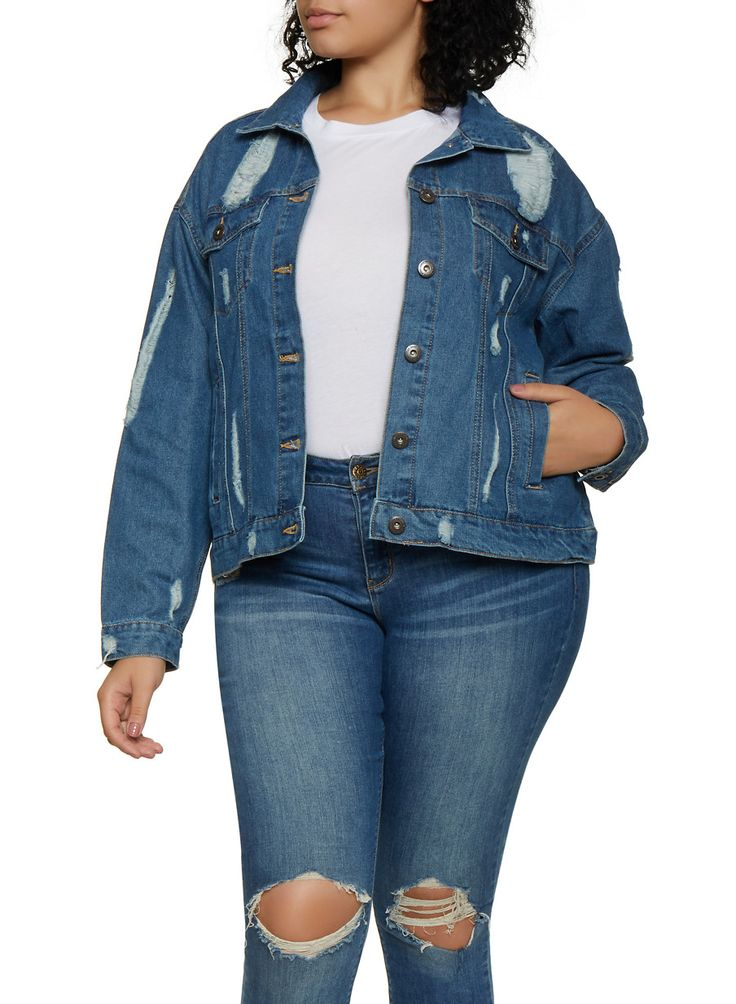 Plus Size Highway Ripped Back Jean Jacket – Blue – Size 1X