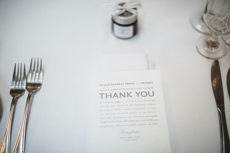 Wedding thank you place cards by Hello Tenfold.  Shane and Jess's Melbourne town hall & Abbotsford convent wedding