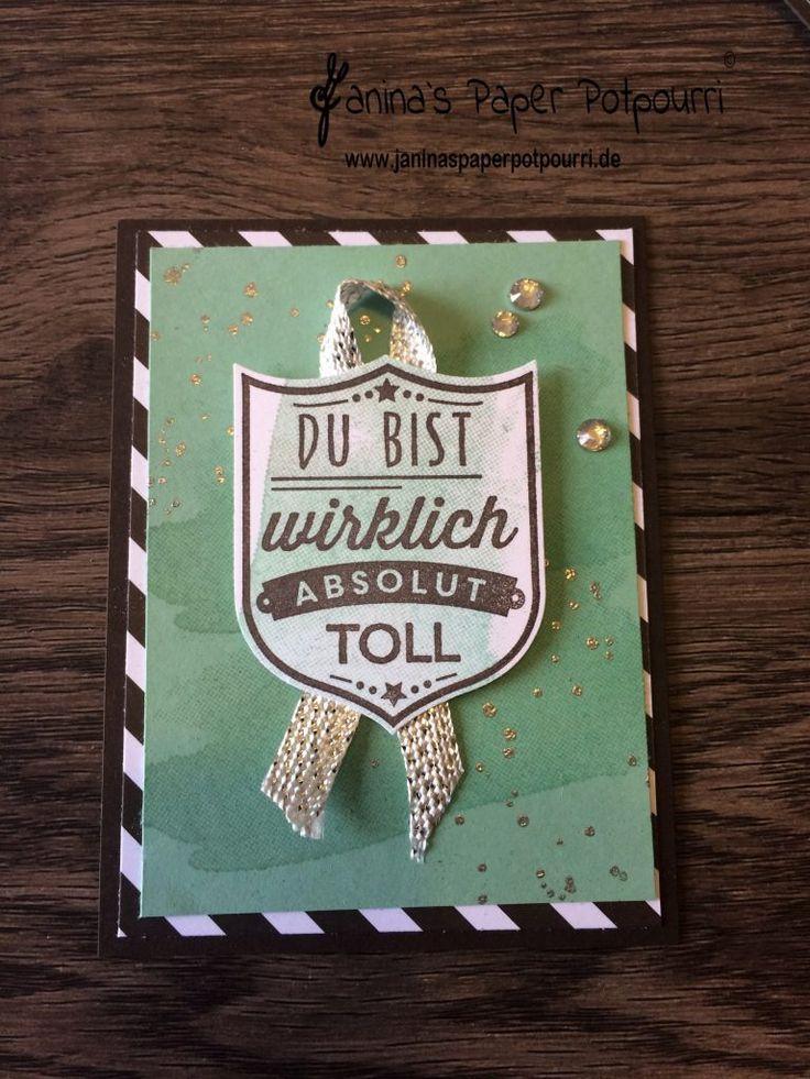 jpp - OnStage 2017 /  Team Swaps / Mini cards / Wappen Kärtchen / Freundschaft / friendship / Stampin' Up! Demonstrator in Berlin / Gut gewappnet / Gorgeous Grunge  www.janinaspaperpotpourri.de