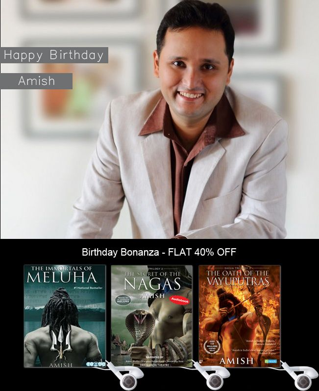 #Reado wishes #AmishTripathi #Author of the #Bestselling  'The Shiva Trilogy'... A Very #HAPPYBIRTHDAY..!  Grab your #audiobook at exclusive 40% discount!