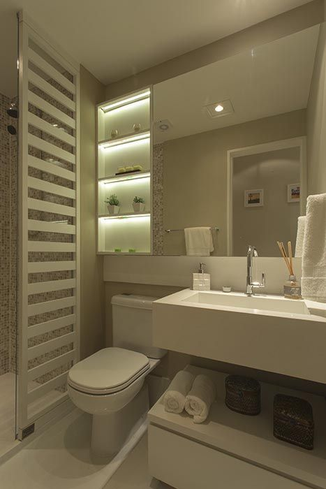 I like the shelves and most everything else but want a double vanity. Banheiro decorado do My Joy
