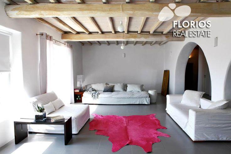 Spacious living room of an amazing Villa for Sale on Mykonos island, Greece. FL1026 http://www.florios.gr/en/mykonos-property/17.html