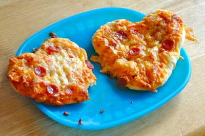 heart-shaped mini pizzas