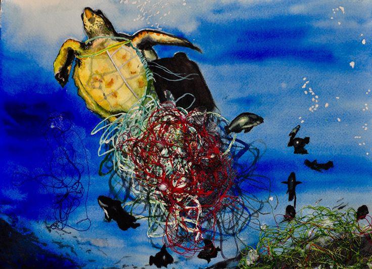 """Polocean"" by Junwoo P., Honorable Mention Award Winner (Middle School) in the 2016 Ocean Awareness Student Contest #art #painting #seaturtle #marinedebris"
