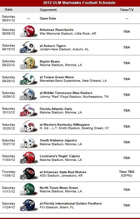 ULM - Louisiana at Monroe Warhawks Football Team 2012 Schedule