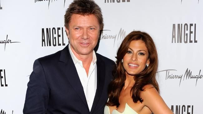 Richard Wilkins joins Eva Mendes as she reveals her campaign for Angel by Thierry Mugler at IAC Building on June 23, 2011 in New York City.