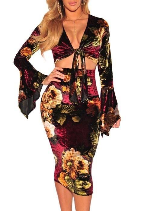 Velvet Floral Tie up Bell Sleeve Two Piece Skirt Set modeshe.com