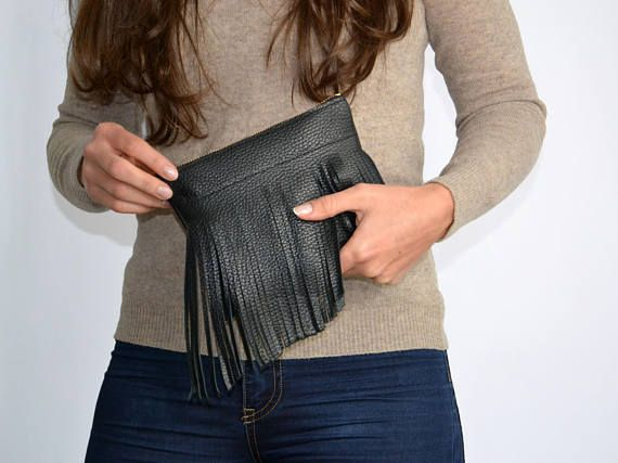 Clutch Bag black leather bag leather purse handbag zipped