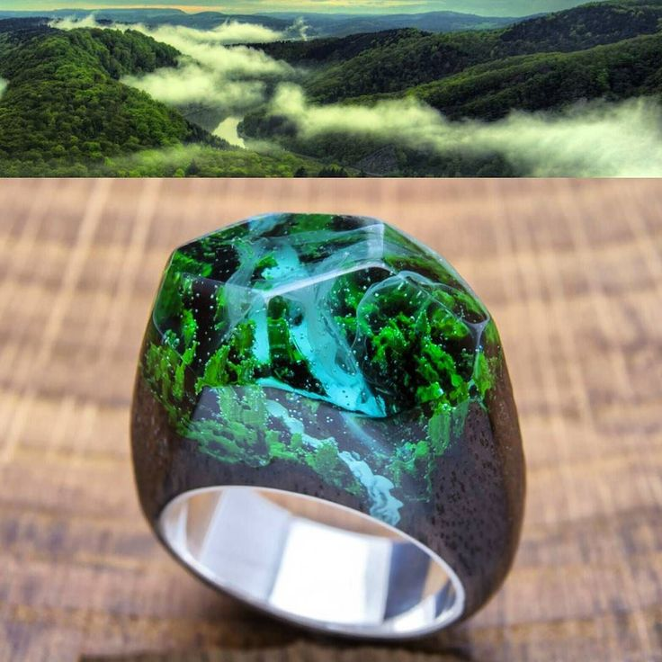 """""""Waterfall"""" from Greenwood is a unique world in every wooden ring.  #waterfall #waterfallring #greenwood #greenwoodring #weddingdress #woodjewelry #woodenrings #woodrings #world #discovery"""