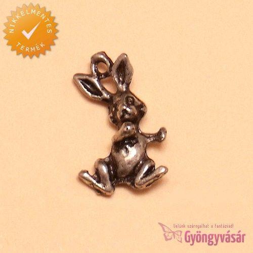 Antik ezüstszínű, táncoló nyuszi - nikkelmentes fém zsuzsu / fityegő • Gyöngyvásár.hu