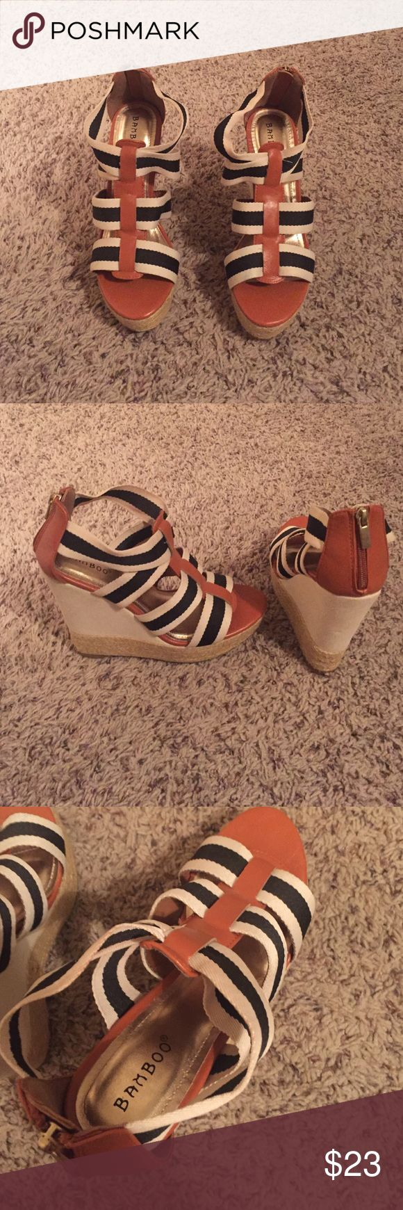 STRIPED WEDGES Bamboo brand from the Buckle. Never been worn! Bamboo Shoes Wedges