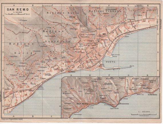 1928 San Remo Italy Antique Map Sanremo Italia by Craftissimo