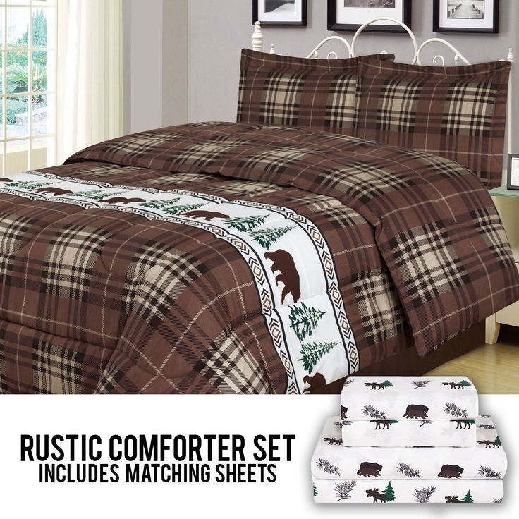 Get comfy and cozy with this rustic Beatrice Home Fashions Galadriel 7 piece comforter and microfiber sheet set. This seven piece set includes a full/queen comforter, two pillow shams, queen size flat sheet, fitted sheet and two matching pillowcases. With earthy shades of brown and taupe, this plaid-pattered comforter set is great for a cabin or lodge themed bedroom.