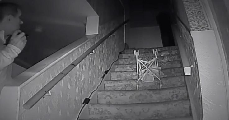 Is this the 'Black Monk'? Ghosthunters capture chilling moment pushchair is thrown down stairs in haunted house - Mirror Online