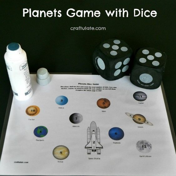 Planet-themed dice game with a free printable! | Stem science