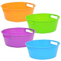 Bulk Bright Round Plastic Storage Tubs with Handles at DollarTree.com
