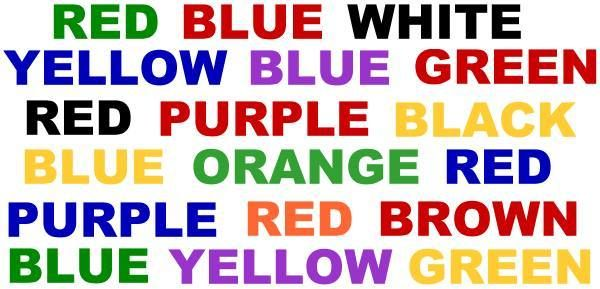A way to do the colour test fast -- for foreigners: if you're allowed to name the colours in your native language, you can ignore the English words and only see the colours. (Link: The Stroop Effect)