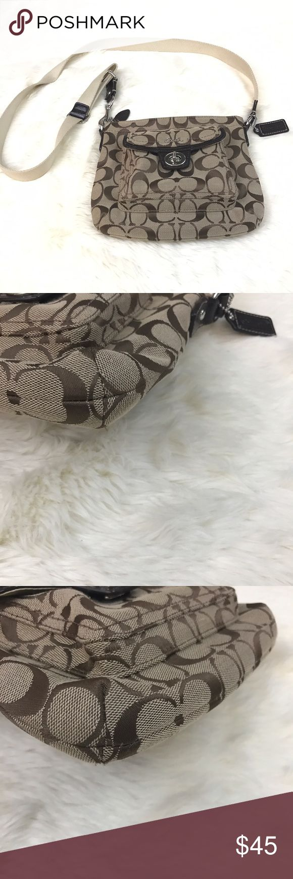 Authentic Coach Swingpack Crossbody Bag Beige See pics for staining/signs of wear. Length 9 inches. Height 7.5 inches. Still lots of wear left in this. Coach Bags Crossbody Bags