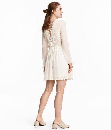 Kleid mit Spitzenborten   Naturweiß   Damen   H&M DE