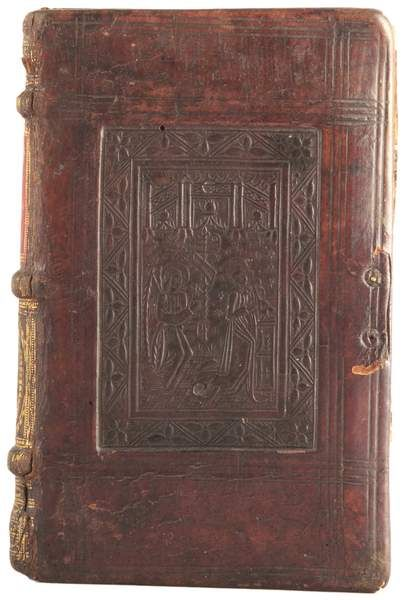 Calf binding with a single panel representing the Annunciation. The panel stamp on the lower board represents the Man of Sorrows. Gold tooling on the spine is a later addition. Author:Horace Title:Opera Ascensianis asteriscis illustrata. Published:Paris: In aedibus Ascensianis, 1505.