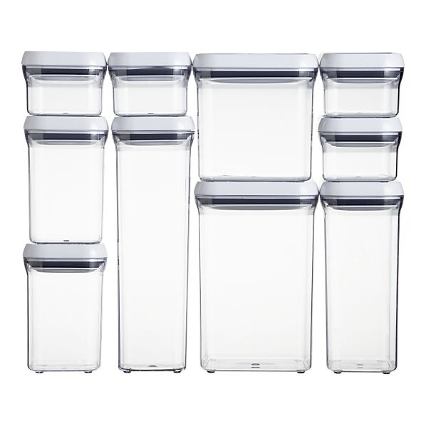 OXO 10 piece pop container set. $99. For organizationKitchens, Organic, Food Storage, 10Pieces Pop, Oxo, Crates And Barrels, Storage Container, Food Container, 10 Piece Pop
