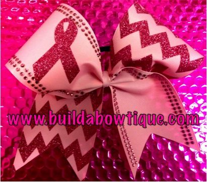Breast Cancer Awareness Bow: Rhinestone Cheer Bows, Sequin, Glitter, Monogram & Custom Cheer Bows