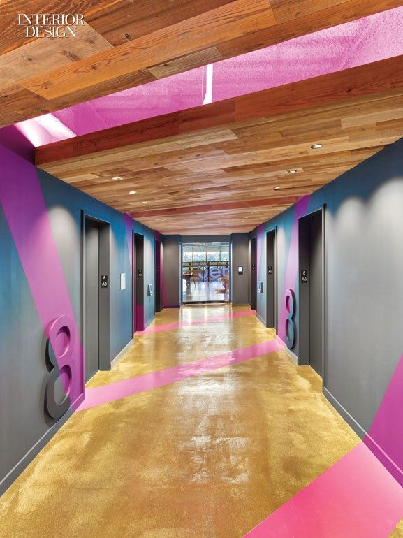 E-commerce Newcomer Jet.com New Jersey HQ Office. Acrylic paint accents the elevator lobby.