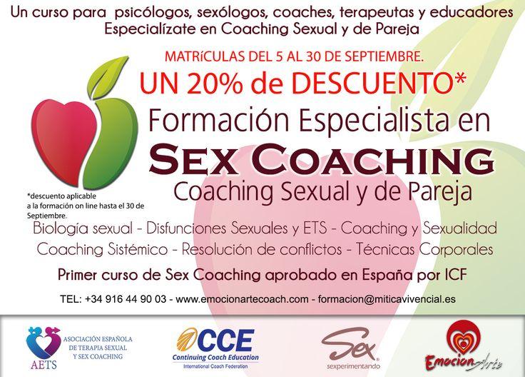 Este mes la Asociación Española de Terapia Sexual y Se x Coaching bonifica la Formación de Especialista en Sex Coaching en formato On Line con un 20% de Descuento. Si quieres formarte como Coach Sexual matrículate antes del 30 de Septiembre y obtén este Descuento. Aqui tienes toda la información http://bit.ly/1XcBHPf