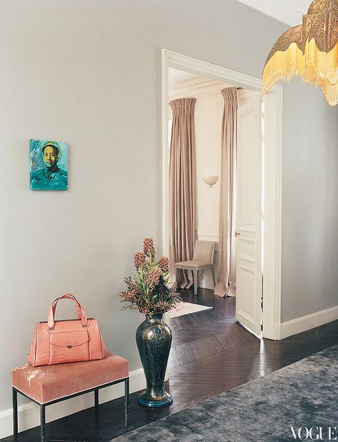 Chic Hall and Sitting RoomL Wren Scott, L'Wren Scott, Lwren Scott, Paris Apartments, Interiors Design, Inspiration Boards, Painting Colors, Gray Wall, Mick Jagger