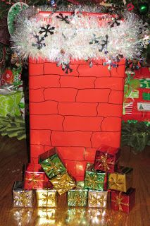 Present toss. Make a chimney out of box. Try to throw smaller presents down the chimney.  Don't think I'd decorate this fancy though.
