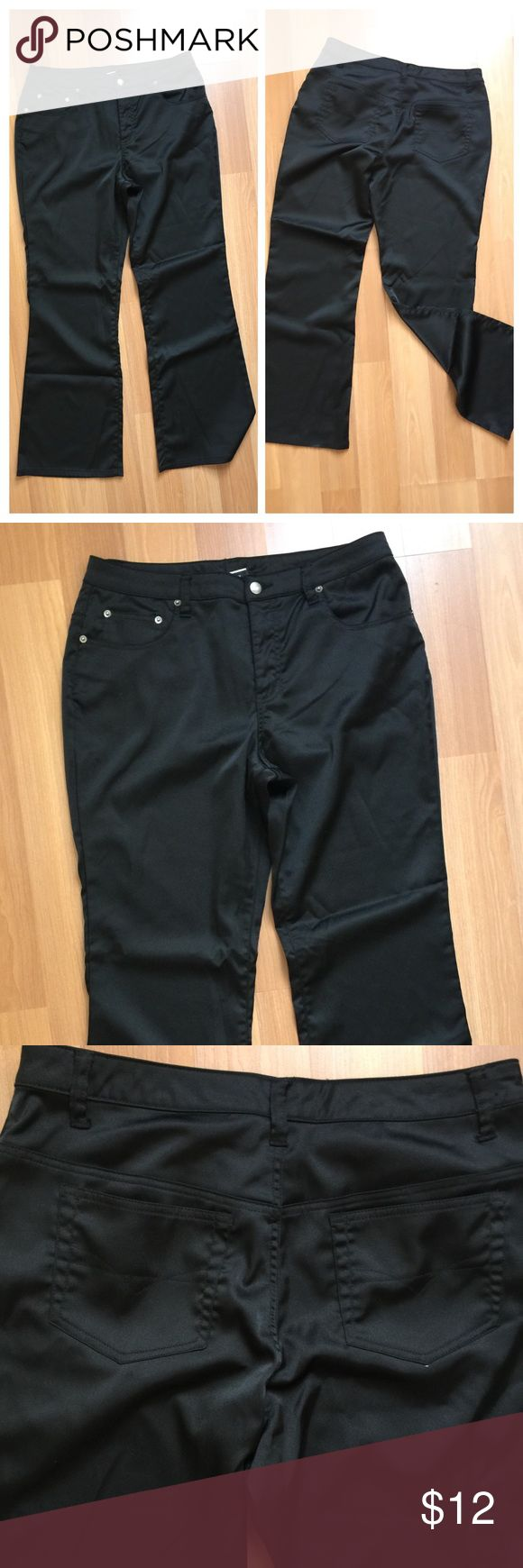 "Shiny black trousers Women's wide legged stretch trousers. Size 14. Shiny stretch material with front and back pockets (much like jeans) and front zip closure. Lots of stretch!  Waist measures flat at 17"" Inseam measures 31""  No swapping, but I do offer bundle discounts. Find more in your size with my hashtag #brokebride14  Happy to bundle!  #wideleg #trouser #dresspants #size14 #plussize #xl Fashion Bug Pants Trousers"