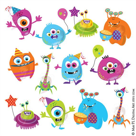 INSTANT DOWNLOAD 12 cute funny digital monster designs! Excellent for making ...  Invitation cards, Birthday cards, Thank You cards, all kinds of cards! Scrapbook paper, gift wrapping, etc. Banners, tags, cupcake toppers.  Like the monsters without the party elements? Go to: http://www.etsy.com/listing/91070792/monster-clipart-clip-art-digital-monster _________________________________________ For this INSTANT DOWNLOAD product, you will receive the following: Size of each clip art: vertical…