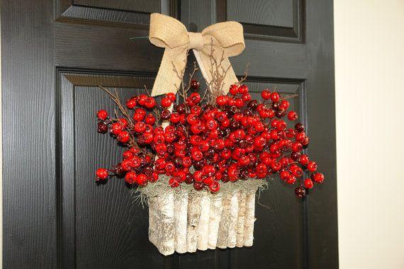 Christmas wreath red berry berries wreaths front door decor birch bark decorations red berry wreath
