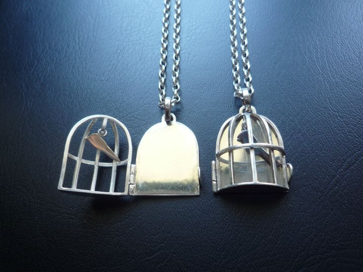Bird Cage Pendant Sterling Silver, Chain (sterling silver) 80cm