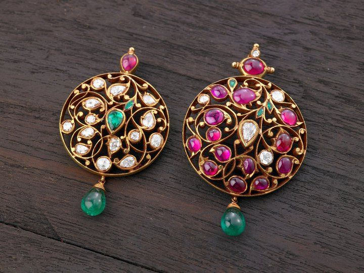 Indian Jewellery and Clothing: Elegant temple ruby jewellery from Arnav jewellers..